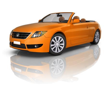 convertible car: Orange Elegant Convertible Car Stock Photo