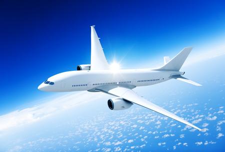 Vliegtuig midden in de lucht. Stockfoto