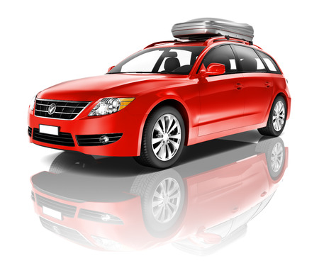 Large Red Car Stock Photo