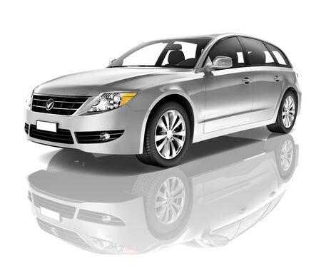 3d mode: Silver car Stock Photo