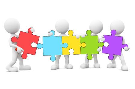 Les hommes 3D reliant puzzle. Banque d'images - 31313995