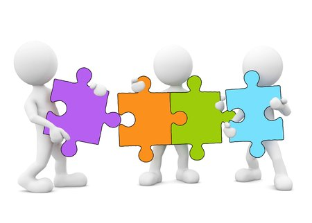3D men holding jigsaw puzzle photo