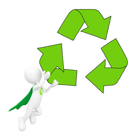 Green Superhero with Recycling Symbol photo