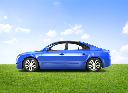 car side view: Shiny blue sedan in the ourdoors.