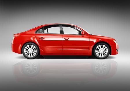 Foto de estudio de la vista lateral de Sedan Red