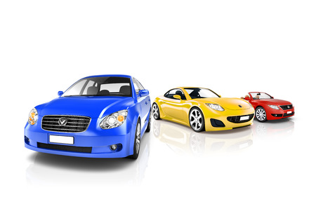 色とりどりの現代自動車のグループ