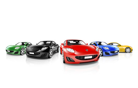 sports car: Group of Multi Colored Modern Cars