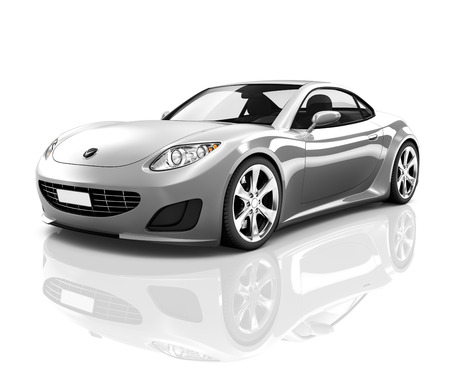 white background: Luxury Silver Sports Car