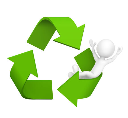 environmentalist: 3D man with Recycle symbol.