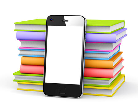 Smart phone with books. photo