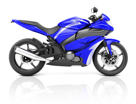 3D-Bild eines blauen modernen Motorrad Standard-Bild