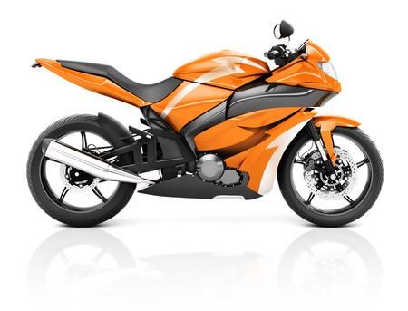 three dimension shape: 3D Image of a Orange Modern Motorbike Stock Photo