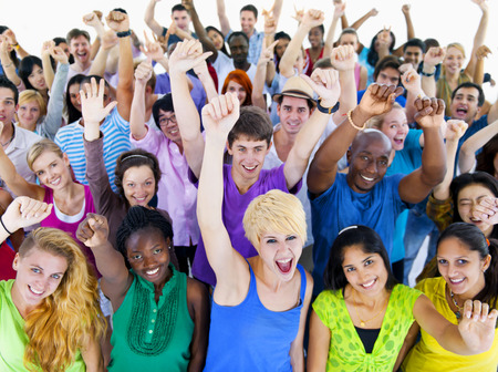 crowds': Large Group of People Celebrating Stock Photo