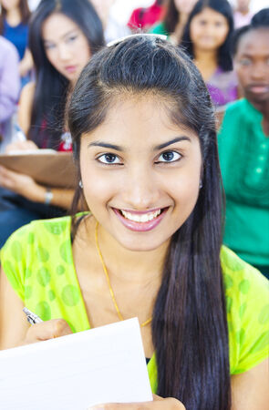 Young woman in lecture room photo