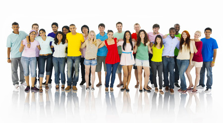 Large Group of People Holding Hand Stockfoto