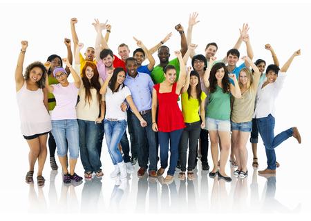 juventud: Gran grupo de personas Celebrando Foto de archivo