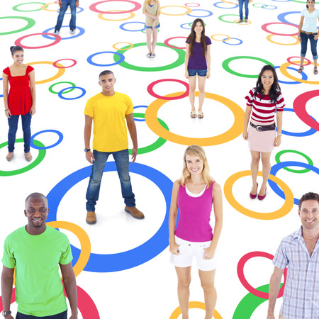 socially: Group of Multi-Ethnic Socially Connected People on Colorful Circles Stock Photo