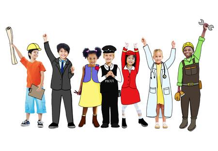 Happy Children and Dream Job Concepts photo