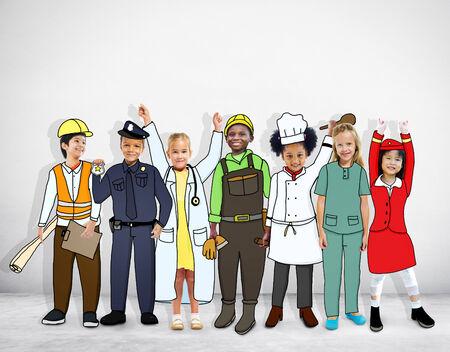 different jobs: Diverse Multiethnic Children with Different Jobs