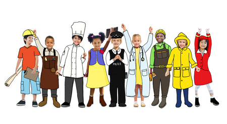asian farmer: Diverse Children with Various Occupations Concept Stock Photo
