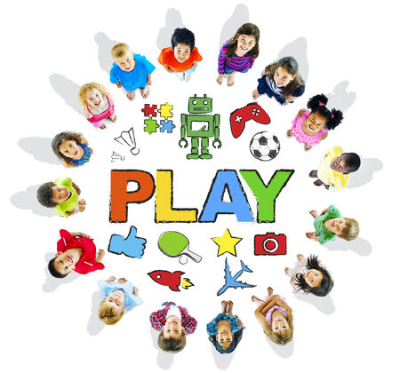 child looking up: Multi-Ethnic Children Forming a Circle with Play Concepts