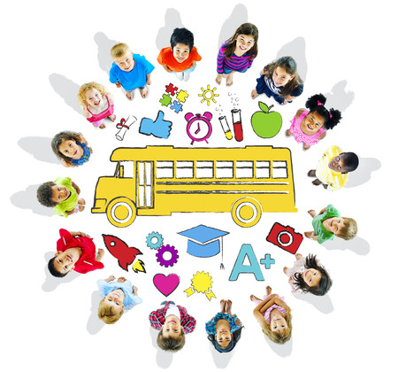 child looking up: Multi-Ethnic Children Forming a Circle with School Concepts Stock Photo