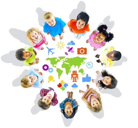 child looking up: Multi-Ethnic Children with World Concepts