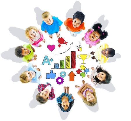 child looking up: Multi-Ethnic Children with Good Performance Concepts Stock Photo