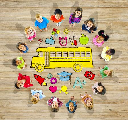 asian teacher: Group of Children and School Concept