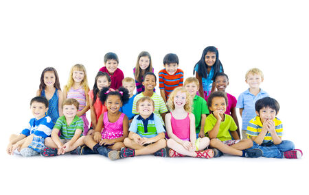 Multi-ethnic group of children sitting Stock Photo