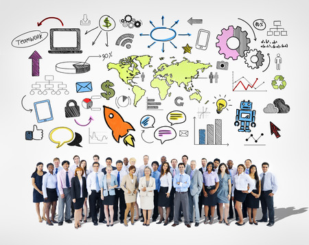 mixed age: Large Group of Business Team Stock Photo
