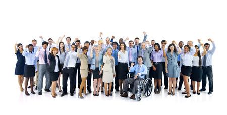 persona en silla de ruedas: Grupo grande de hombres de negocios que celebra