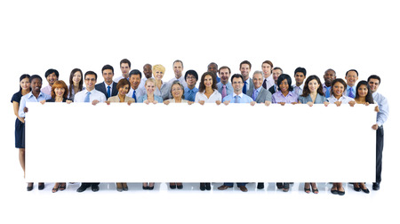 large group of business people: Large Group of Business People Holding Board