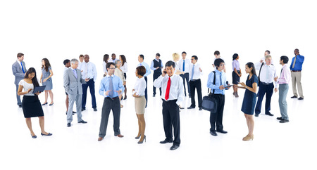 organised group: Large Group of Business People Talking Stock Photo