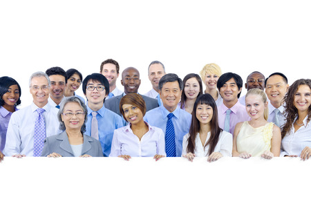 mixed age: Large Group of Business People Holding Board