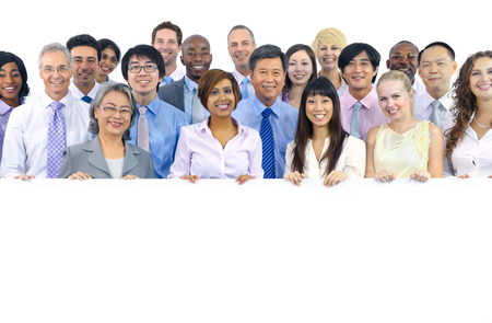 people in office: Large Group of Business People Holding Board