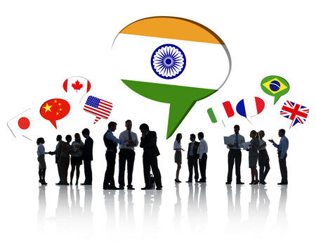 indian businessman: Large group of business people discussing about global business issues.