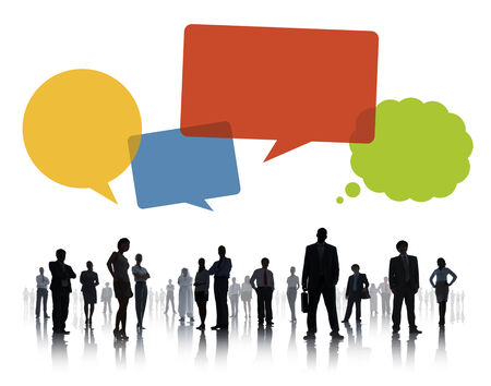 Silhouettes of Business People Teamwork with Speech Bubbles photo