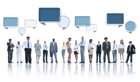 Multiethnic Group of Business People with Speech Bubbles photo
