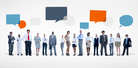 Group of Diverse Business People With Speech Bubbles photo