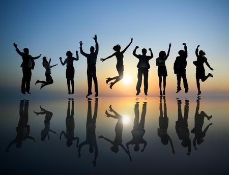 祝っているビジネス人々 のグループ 写真素材