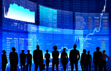 forex: Business People at Stock Market Wall Stock Photo