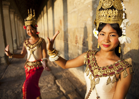 serene people: Traditional aspara dancers, Siem Reap, Cambodia.