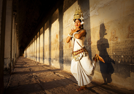 Aspara Dancer at Angkor Wat. Sepia toned.  Stock Photo