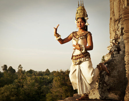 Aspara Dancer at Angkor Wat. Sepia toned.  Stock Photo