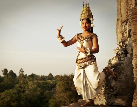 angkor: Aspara Dancer at Angkor Wat. Sepia toned.  Stock Photo