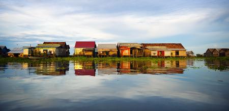 tonle sap: Cambodian Floating Village at sunset. Kampong Kleang, Tonle Sap, Cambodia.