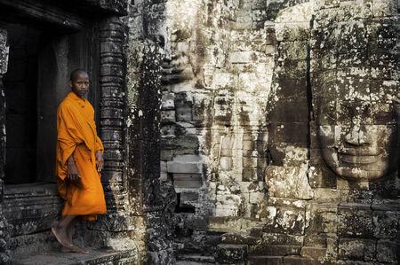 angkor wat: Contemplating monk, Angkor Wat, Siam Reap, Cambodia.