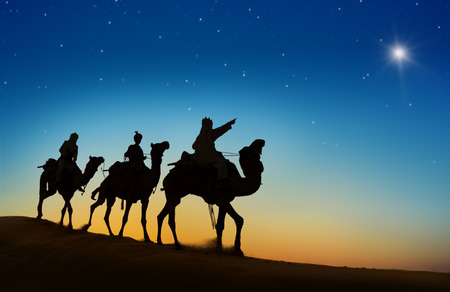 scene: Three kings looking at the star. Stock Photo