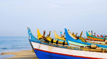 kovalam: Colourful fishing boats, Kerala, India. Stock Photo